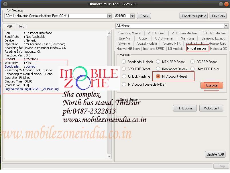 XIOMI MI NOTE 4G 2014712 MI ACCOUNT UNLOCKED